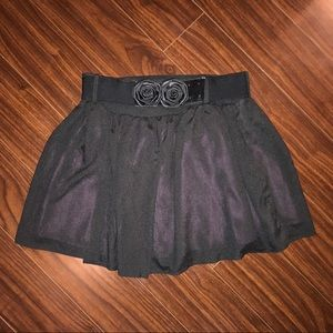 Black skirt with removable flower belt